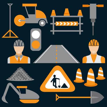 road scraper: Men at work,road works flat design icons