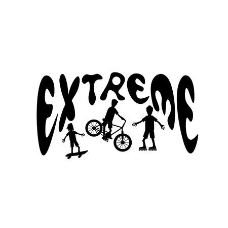 extreme sport: extreme sport cartoon silhouettes Illustration