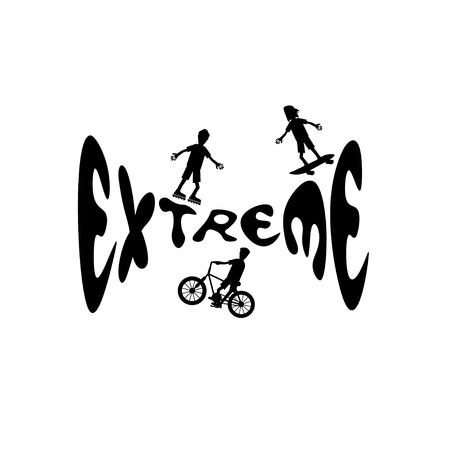 extreme sport cartoon silhouettes Illustration