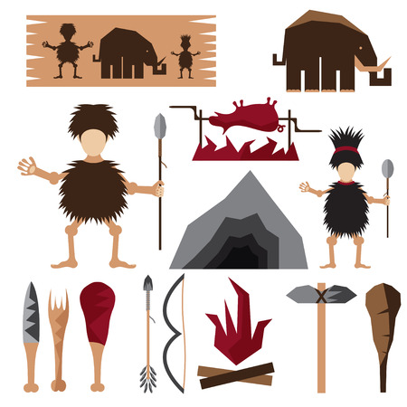 flat design icons of paleo food and caveman theme Vector