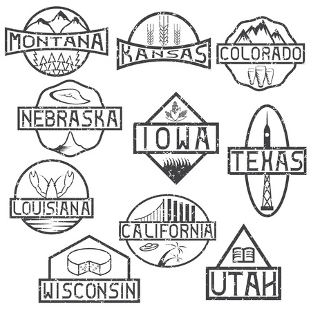 iowa agriculture: grunge labels of states and landmarks of usa Illustration