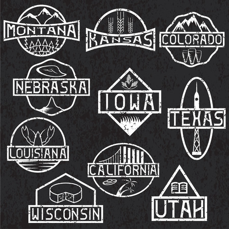 colorado mountains: grunge labels of states and landmarks of usa Illustration