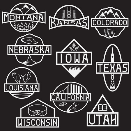 colorado mountains: labels of states and landmarks of usa Illustration