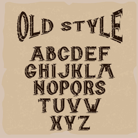 west: old style grunge alphabet for labels Illustration