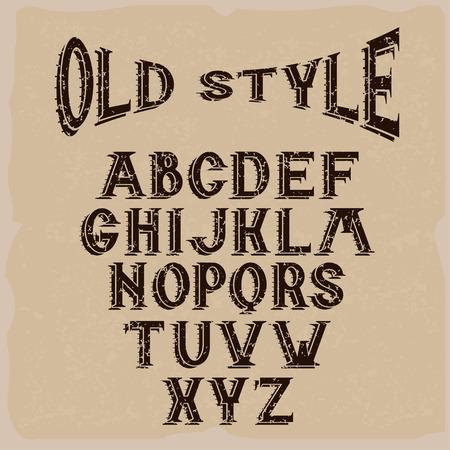 old style grunge alphabet for labels Illustration