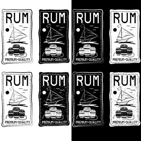 rum: rum vintage labels set