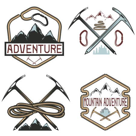 himalaya: set of vintage labels mountain adventure Illustration
