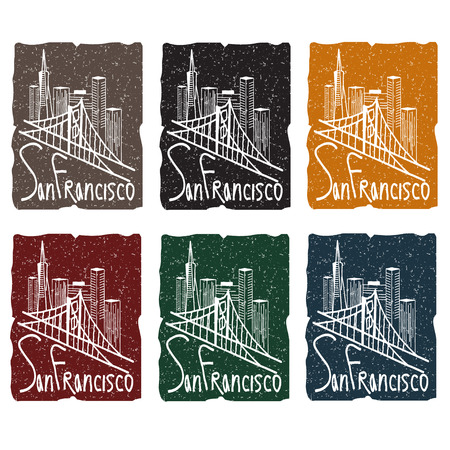 san: san francisco skyline grunge sticker set