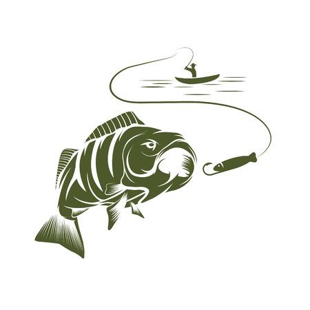 pecheur: illustration de pêcheur dans un bateau et grande basse de bouche