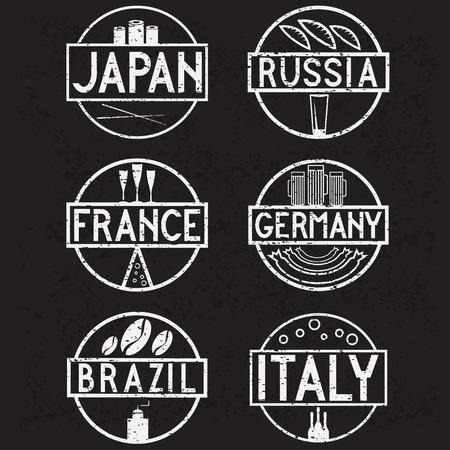 international food: international food marks grunge labels set Illustration