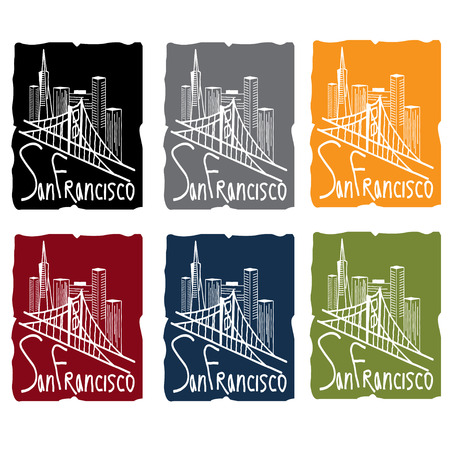 francisco: san francisco skyline sticker set