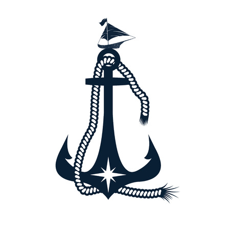 elite sport: anchor and boat vector design template