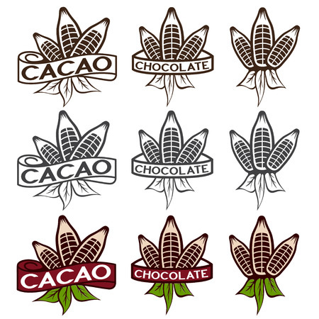 cacao: cacao beans with leaves labels set
