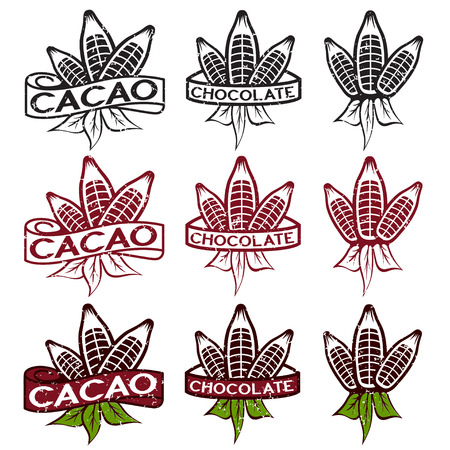 cocoa beans: cacao beans with leaves grunge labels set Illustration