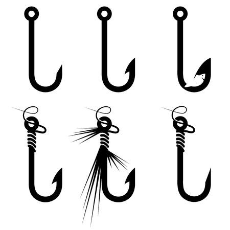 outline fish: fishing hooks set