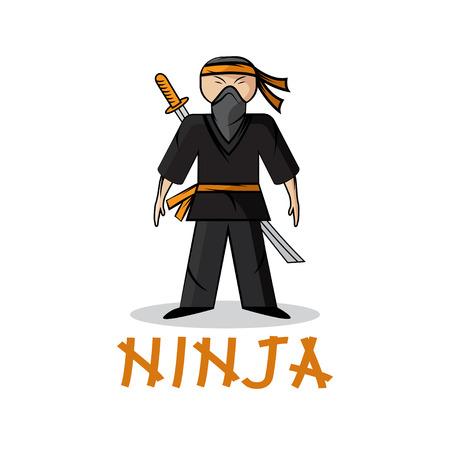 crouching: cartoon young ninja illustration