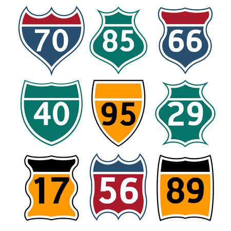 traffic signs: road signs set Illustration