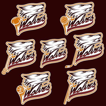 shootout: set of wolf sports labels Illustration