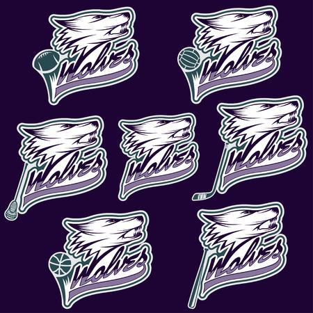 huskies: conjunto de etiquetas deportivos lobo Vectores