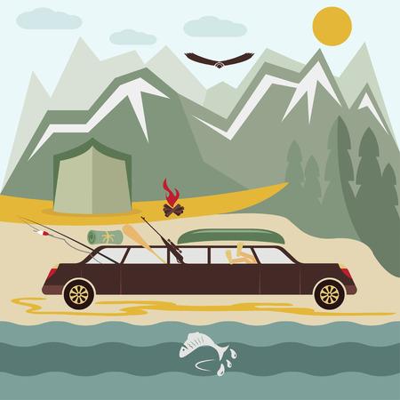 limousine: glamor camping flat design landscape with limousine