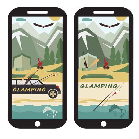 limousine: glamor camping flat design landscape with limousine on smartphone Illustration