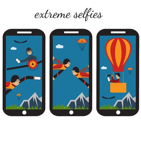 extreme: extreme selfie flat design illustration Illustration