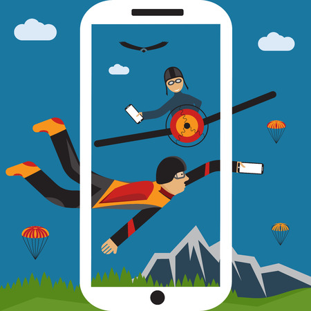 skydiver: extreme selfie parachutist and pilot flat design illustration