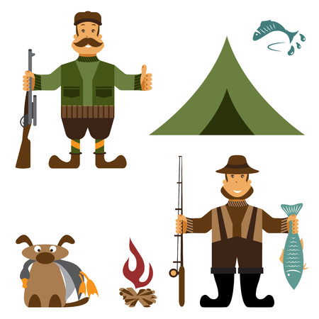Flat design illustration with fisherman and hunter icons.