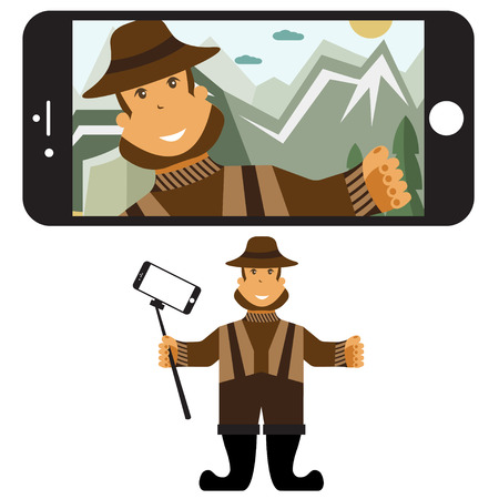 fisher: Concept flat design illustration with fisher and selfie stick.  Illustration