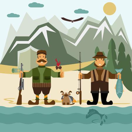 pescador: Ilustración Diseño plano con el pescador y cazador.