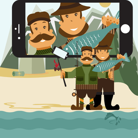 fisher: Concept flat design illustration with fisher and hunter and selfie stick.