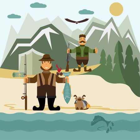 bear trap: Flat design illustration with fisherman and hunter.