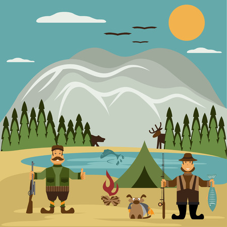 archer fish: Flat design illustration with fisherman and hunter.