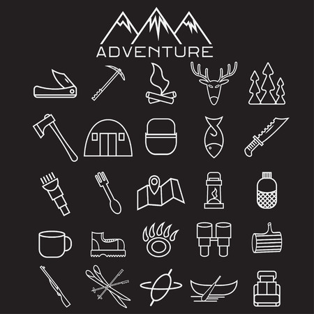 ice axe: adventure web icons set flat design Illustration