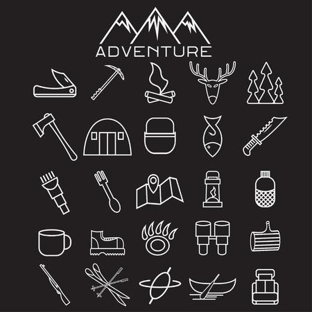 geolocation: adventure web icons set flat design Illustration