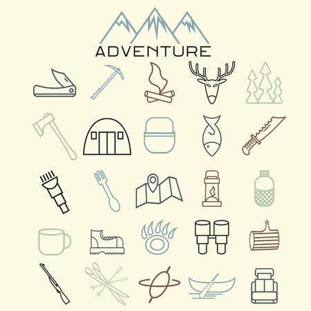 adventure web icons set flat design Illustration