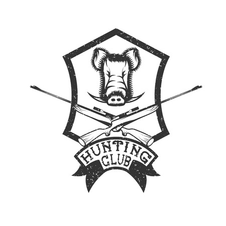 wildlife shooting: grunge hunting club crest with carbines and boar