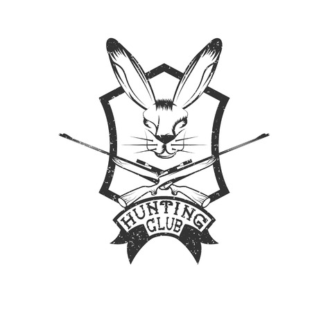 wildlife shooting: grunge hunting club crest with carbines and hare Illustration