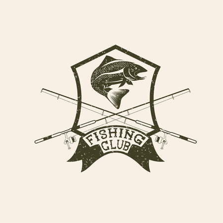 carp fishing: grunge fishing club crest with trout