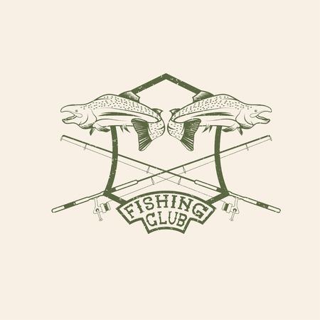 largemouth: grunge fishing club crest with salmon