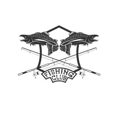 minnow: fishing club crest with salmon