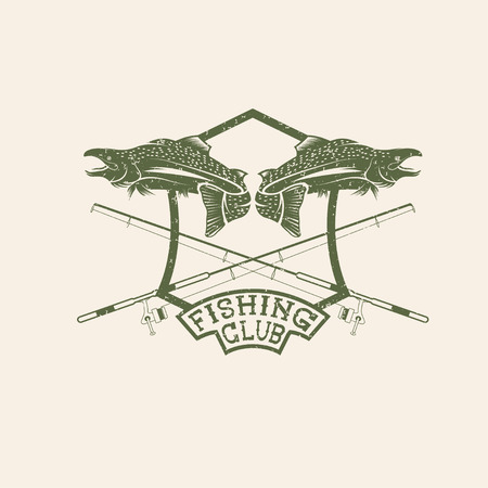 jumping carp: grunge fishing club crest with salmon