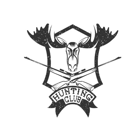 wildlife shooting: grunge hunting club crest with carbines and elk