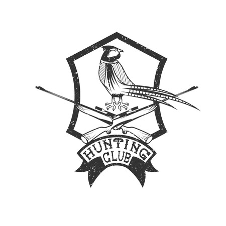 wildlife shooting: grunge hunting club crest with carbines and pheasant
