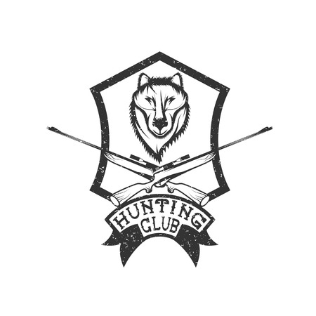 wildlife shooting: grunge hunting club crest with carbines and wolf Illustration