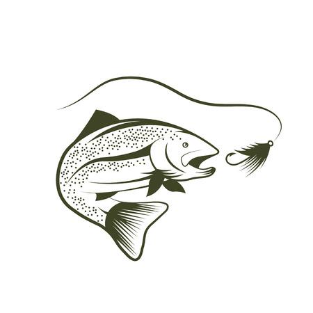 truchas: la trucha y el diseño señuelo plantilla Vectores