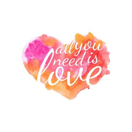 love: Beautiful watercolor heart with quotes love.Vector Illustration