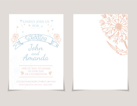 Wedding Invitation Card Templates With Hand Drawn Cake Vector