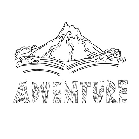 himalaya: Hand drawn labels for adventure themes. Vector