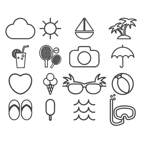 watermelon boat: Line icons vector collection  of traveling, tourism and vacation theme. Vector